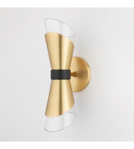 Mitzi H130102-AGB/BK Angie LED 5 inch Aged Brass Wall Sconce Wall Light