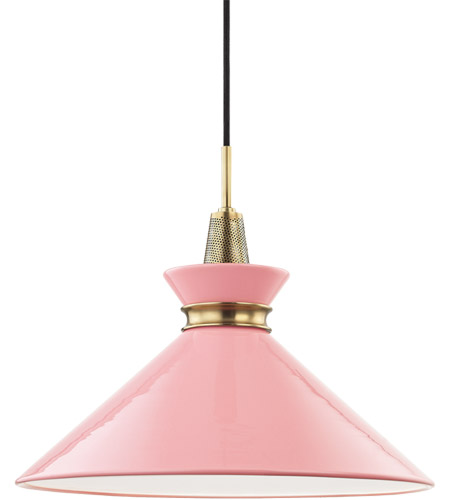 Mitzi H251701L-AGB/PK Kiki 1 Light 18 inch Aged Brass Pendant Ceiling Light in Pink Metal photo thumbnail
