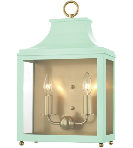 Mitzi H259102-AGB/MNT Leigh 2 Light 12 inch Aged Brass and Mint Wall Sconce Wall Light photo thumbnail