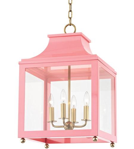 Mitzi H259704L-AGB/PK Leigh 4 Light 16 inch Aged Brass and Pink Pendant Ceiling Light photo thumbnail