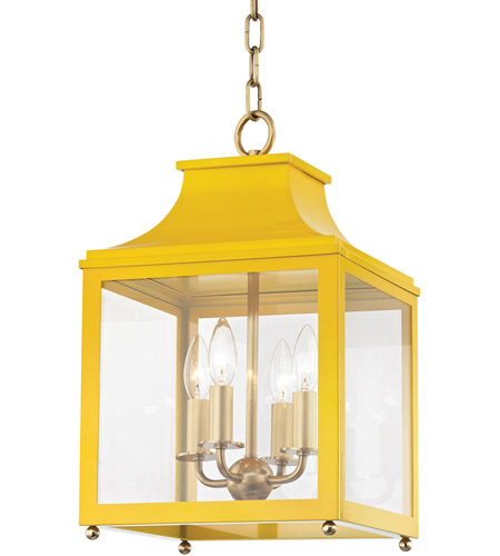 Mitzi H259704S-AGB/MG Leigh 4 Light 12 inch Aged Brass and Marigold Pendant Ceiling Light photo thumbnail