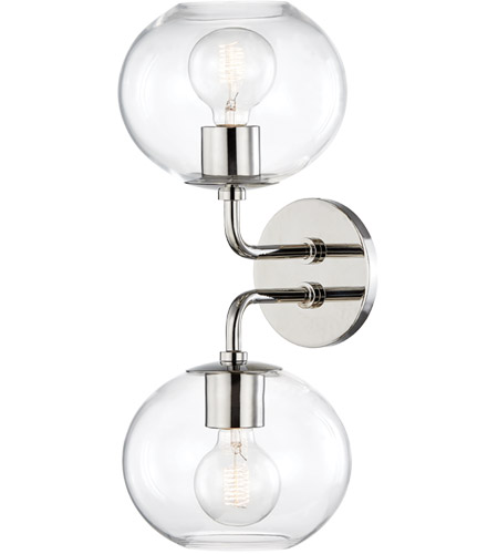 Mitzi H270102-PN Margot 2 Light 8 inch Polished Nickel Wall Sconce Wall Light photo thumbnail