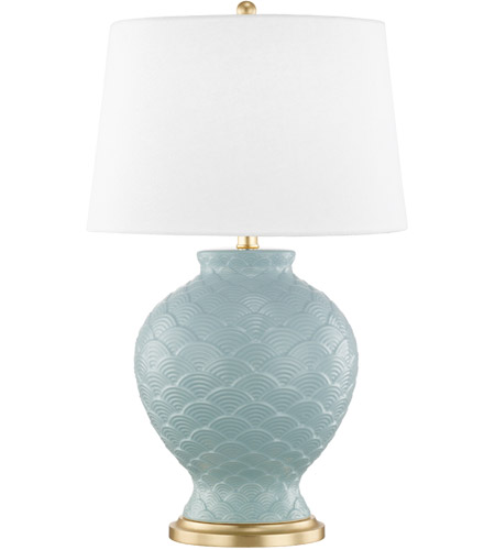 Mitzi HL269201-SU Demi 25 inch 100 watt Surf and Gold Leaf Table Lamp Portable Light photo thumbnail