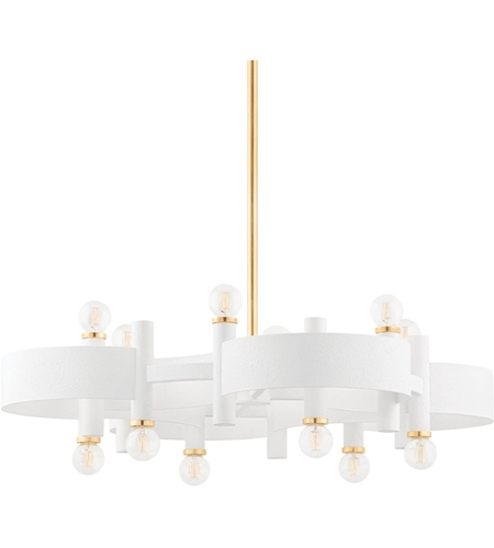 Mitzi H379812 Gl Wh Maddie 12 Light 31 Inch Gold Leaf White Chandelier Ceiling Light