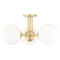 Mitzi H105603-AGB Stella 3 Light 24 inch Aged Brass Semi Flush Ceiling Light