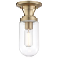 Clara 1 Light 5 inch Aged Brass Semi Flush Ceiling Light