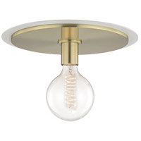 Mitzi H137501L-AGB/WH Milo 1 Light 14 inch Aged Brass Flush Mount Ceiling Light