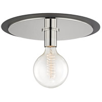 Mitzi H137501L-PN/BK Milo 1 Light 14 inch Polished Nickel Flush Mount Ceiling Light