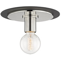 Mitzi H137501S-PN/BK Milo 1 Light 9 inch Polished Nickel Flush Mount Ceiling Light