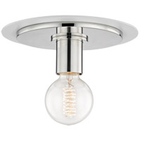 Mitzi H137501S-PN/WH Milo 1 Light 9 inch Polished Nickel Flush Mount Ceiling Light