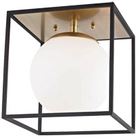 Mitzi H141501L-AGB/BK Aira 1 Light 14 inch Aged Brass Flush Mount Ceiling Light