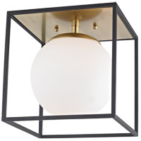 Mitzi H141501S-AGB/BK Aira 1 Light 10 inch Aged Brass Flush Mount Ceiling Light