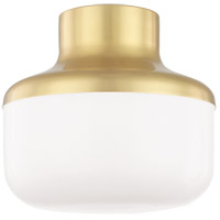 Livvy 1 Light 9 inch Aged Brass Flush Mount Ceiling Light
