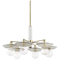 Mitzi H175806-AGB/WH Milla 6 Light 36 inch Aged Brass Chandelier Ceiling Light