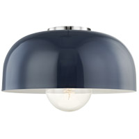 Avery 1 Light 14 inch Polished Nickel Semi Flush Ceiling Light in Navy Metal