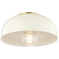 Avery 1 Light 11 inch Aged Brass Semi Flush Ceiling Light in Cream Metal