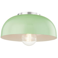 Avery 1 Light 11 inch Polished Nickel Semi Flush Ceiling Light in Mint Metal