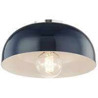 Avery 1 Light 11 inch Polished Nickel Semi Flush Ceiling Light in Navy Metal