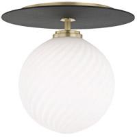 Mitzi H200501L-AGB/BK Ellis LED 10 inch Aged Brass and Black Flush Mount Ceiling Light