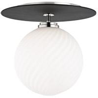 Mitzi H200501L-PN/BK Ellis LED 10 inch Polished Nickel and Black Flush Mount Ceiling Light