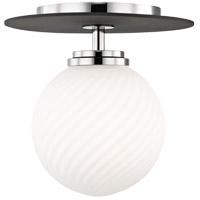 Mitzi H200501S-PN/BK Ellis LED 7 inch Polished Nickel and Black Flush Mount Ceiling Light