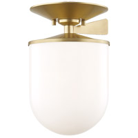 Mitzi H214601L-AGB Audrey 1 Light 8 inch Aged Brass Semi Flush Ceiling Light