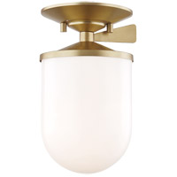 Mitzi H214601S-AGB Audrey 1 Light 6 inch Aged Brass Semi Flush Ceiling Light