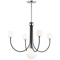 Polished Nickel and Black Steel Chandeliers