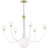 Mitzi H234807-AGB/WH Coco LED 40 inch Aged Brass and White Chandelier Ceiling Light
