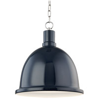 Blair 1 Light 16 inch Polished Nickel Pendant Ceiling Light in Navy Metal