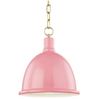 Mitzi H238701S-AGB/PK Blair 1 Light 11 inch Aged Brass Pendant Ceiling Light in Pink Metal