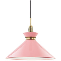 Mitzi H251701L-AGB/PK Kiki 1 Light 18 inch Aged Brass Pendant Ceiling Light in Pink Metal