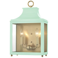 Mitzi H259102-AGB/MNT Leigh 2 Light 12 inch Aged Brass and Mint Wall Sconce Wall Light