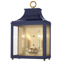 Mitzi H259102-AGB/NVY Leigh 2 Light 12 inch Aged Brass and Navy Wall Sconce Wall Light