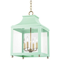 Mitzi H259704L-AGB/MNT Leigh 4 Light 16 inch Aged Brass and Mint Pendant Ceiling Light