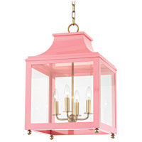 Mitzi H259704L-AGB/PK Leigh 4 Light 16 inch Aged Brass and Pink Pendant Ceiling Light