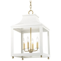 Mitzi H259704L-AGB/WH Leigh 4 Light 16 inch Aged Brass and White Pendant Ceiling Light