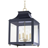 Mitzi H259704L-AGB/NVY Leigh 4 Light 16 inch Aged Brass and Navy Pendant Ceiling Light