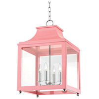 Mitzi H259704L-PN/PK Leigh 4 Light 16 inch Polished Nickel and Pink Pendant Ceiling Light