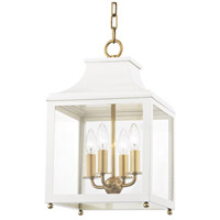 Mitzi H259704S-AGB/WH Leigh 4 Light 12 inch Aged Brass and White Pendant Ceiling Light
