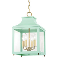 Mitzi H259704S-AGB/MNT Leigh 4 Light 12 inch Aged Brass and Mint Pendant Ceiling Light
