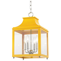 Mitzi H259704S-PN/MG Leigh 4 Light 12 inch Polished Nickel and Marigold Pendant Ceiling Light