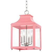 Mitzi H259704S-PN/PK Leigh 4 Light 12 inch Polished Nickel and Pink Pendant Ceiling Light