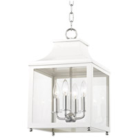 Mitzi H259704S-PN/WH Leigh 4 Light 12 inch Polished Nickel and White Pendant Ceiling Light
