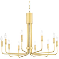 Brigitte 10 Light 32 inch Aged Brass Pendant Ceiling Light