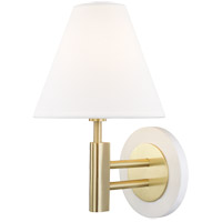 Mitzi H264101-AGB/WH Robbie 1 Light 8 inch Aged Brass and White Wall Sconce Wall Light