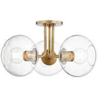 Mitzi H270603-AGB Margot 3 Light 20 inch Aged Brass Semi Flush Ceiling Light