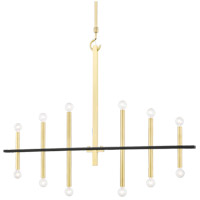 Mitzi H296812-AGB/BK Colette 12 Light 44 inch Aged Brass / Black Chandelier Ceiling Light in Aged Brass and Black