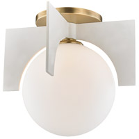 Mitzi H299501L-AGB/WH Nadia 1 Light 11 inch Aged Brass / White Flush Mount Ceiling Light in Aged Brass and White