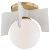Mitzi H299501S-AGB/WH Nadia 1 Light 8 inch Aged Brass / White Flush Mount Ceiling Light in Aged Brass and White